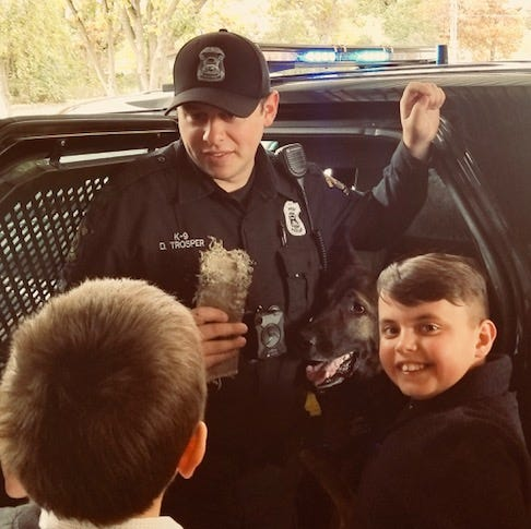 Local youngsters thank Westland police officers for their efforts with lunch, treats