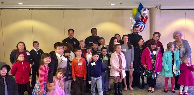 Youngsters at Ss. Constantine and Helen Greek Orthodox Church joined Westland police officers for a visit and lunch recently.