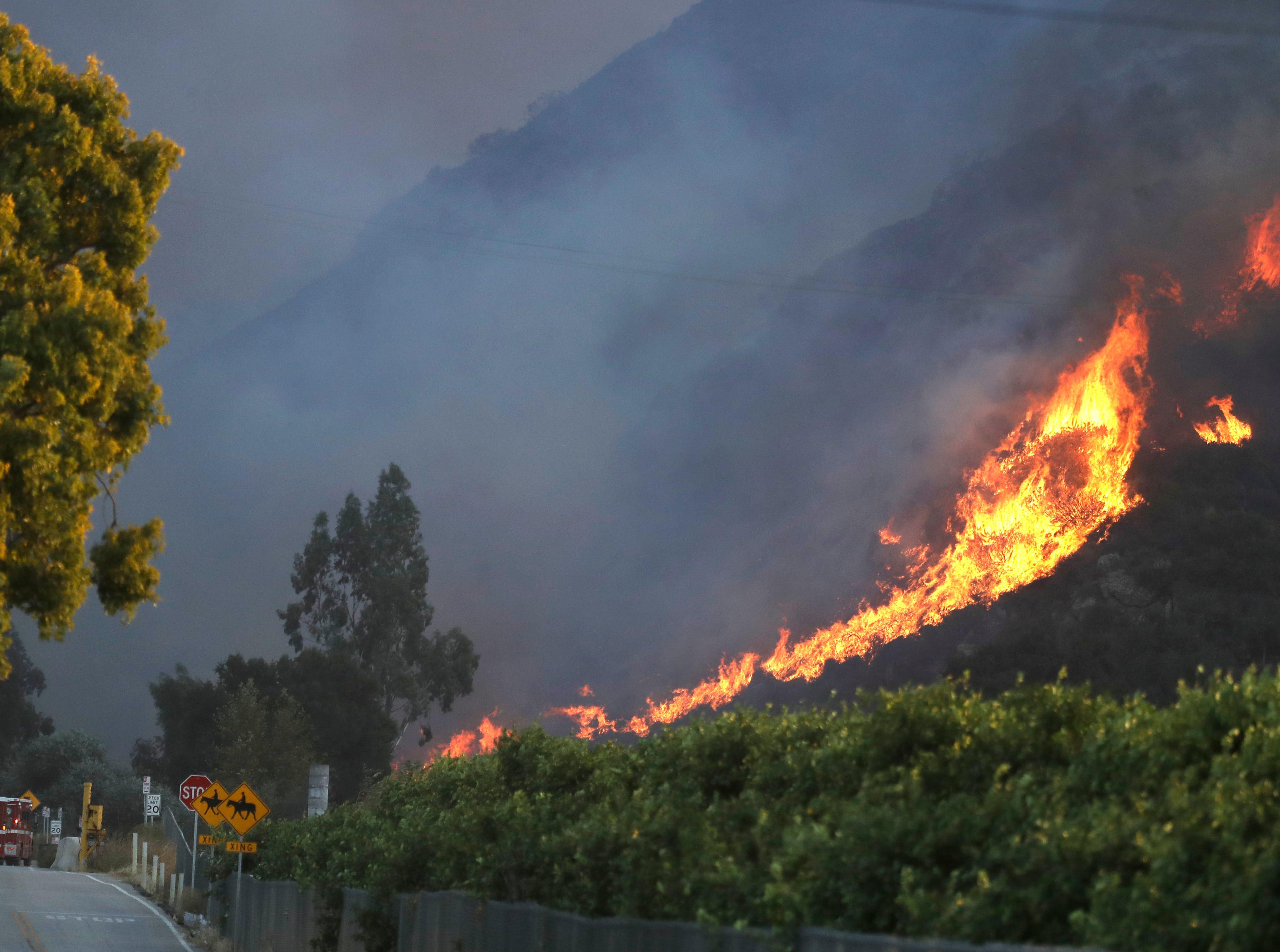 A wildfire comes down from a hilltop Thursday, Nov. 8, 2018, near Newbury Park, Calif.