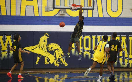 Shemar Morrow dunks the ball during a practice at Shadow Mountain on Nov. 5.