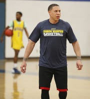 Shadow Mountain head coach Mike Bibby watches his team practice on Nov. 5.