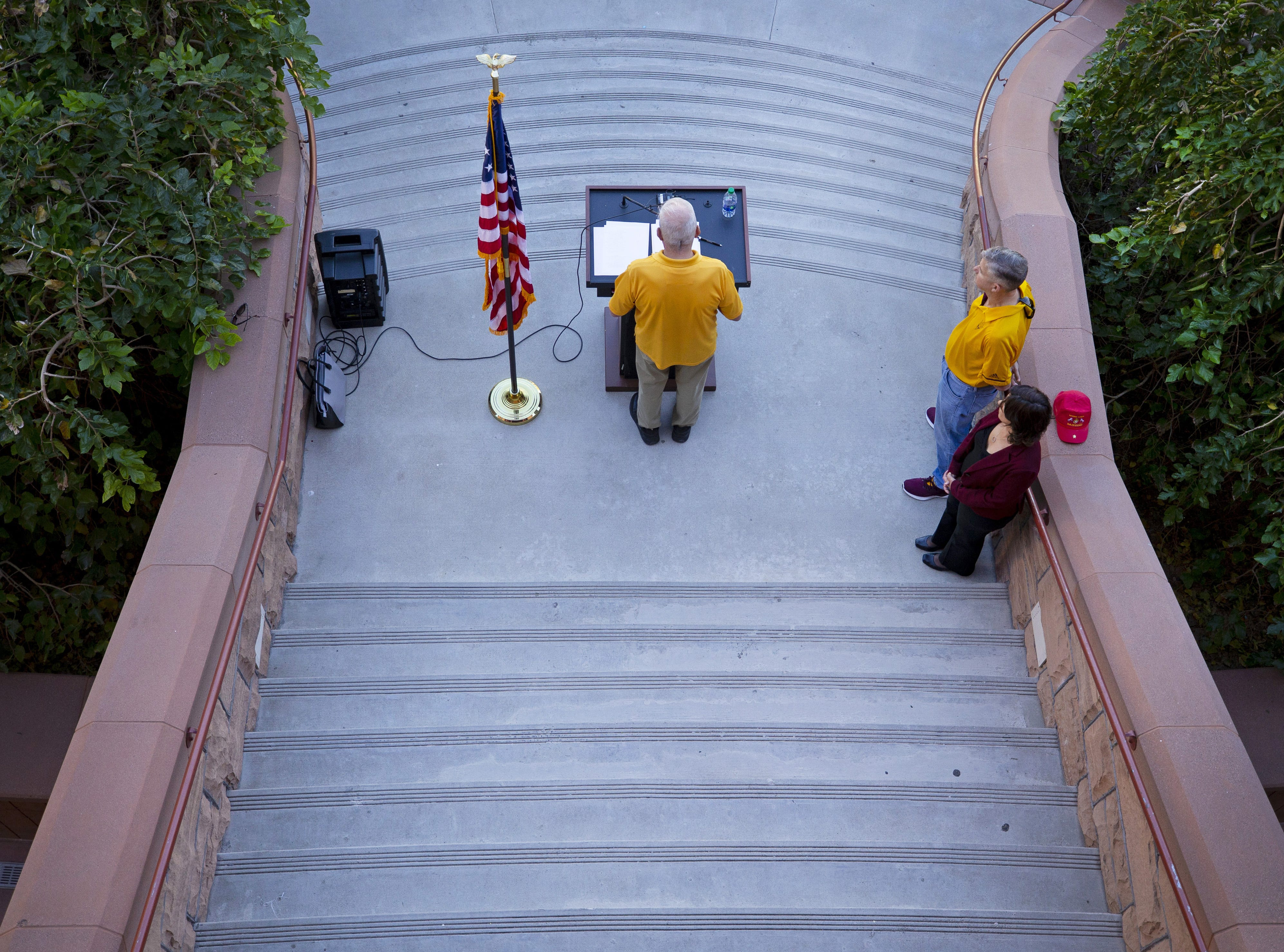 ASU Alumni Maj. Jim Geiser reads names of a 137 ASU Alumni who died while serving their country during an annual tradition on the Tempe campus.