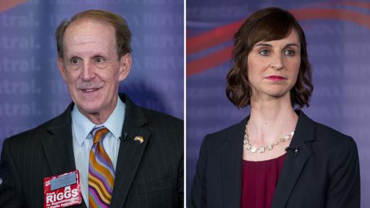 El republicano Frank Riggs (izq.) y la demócrata Kathy Hoffman
