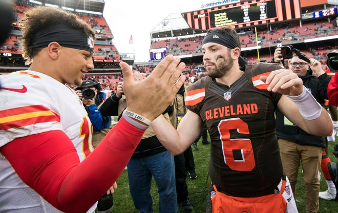 Chiefs quarterback Patrick Mahomes and Browns quarterback Baker Mayfield  shake hands after a game on Nov. 4 at FirstEnergy Stadium.