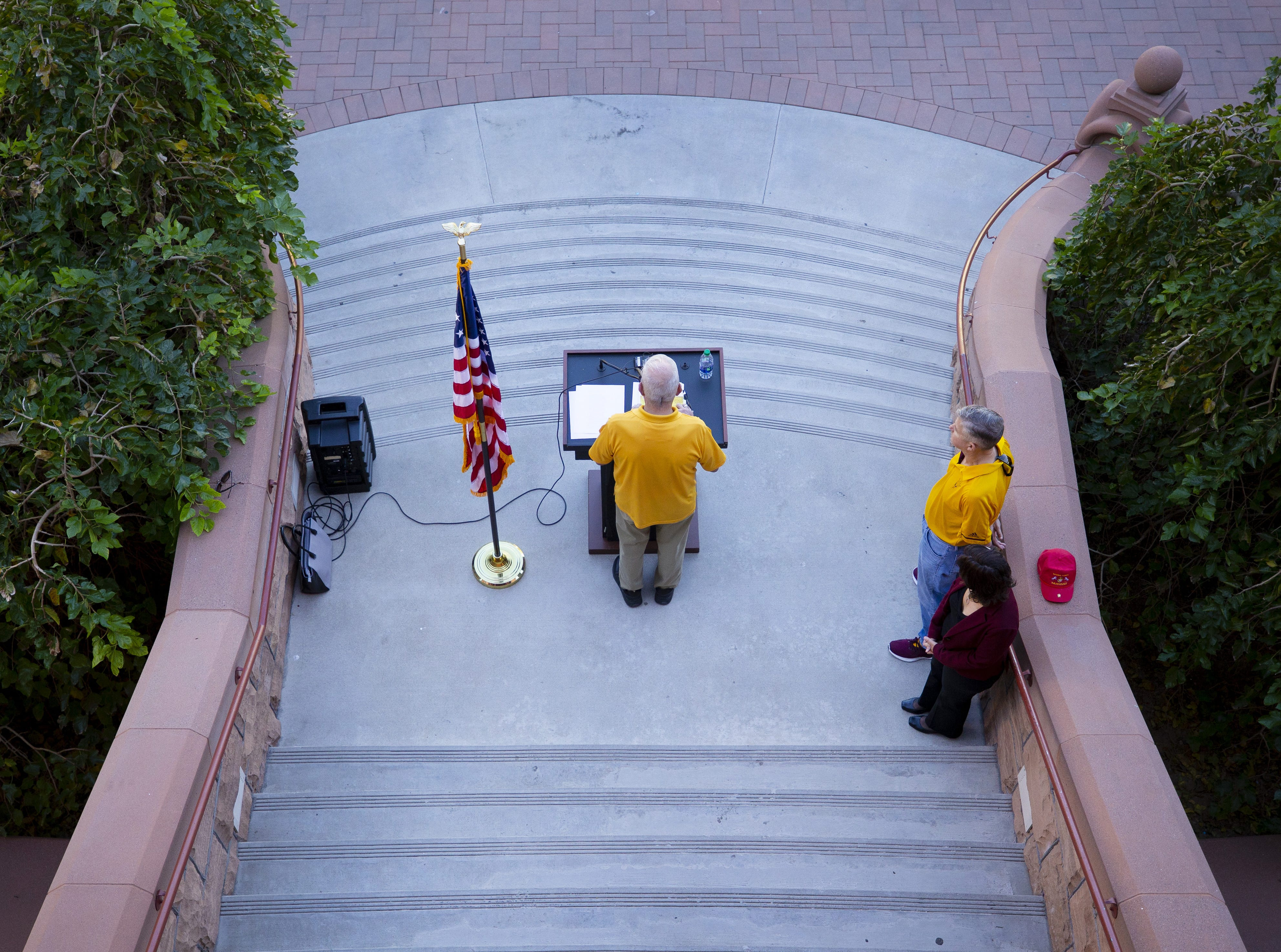 ASU Alumni Major Jim Geiser reads names of a 137 ASU Alumni who died while serving their country during an annual tradition on the Tempe campus.