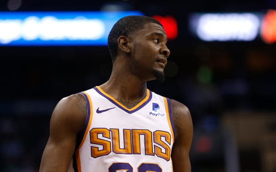 Suns' Josh Jackson (20) reacts after turning the ball over against the Celtics during the first half at Talking Stick Resort Arena in Phoenix, Ariz. on November 8, 2018.