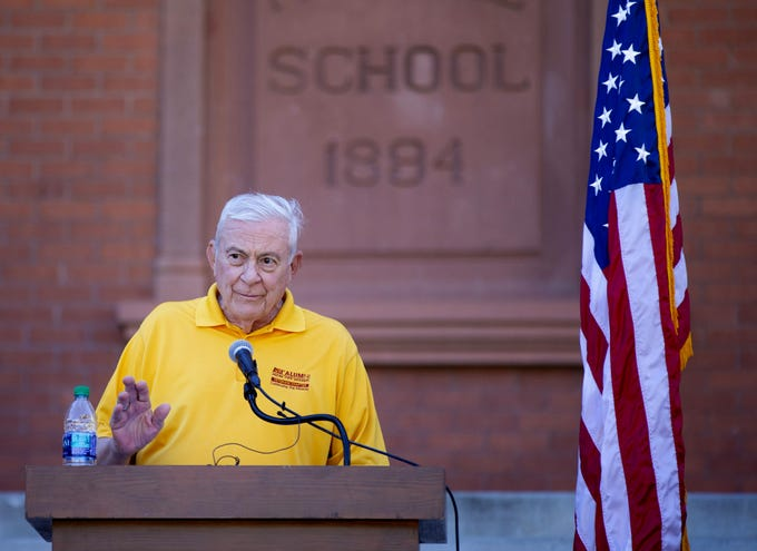 ASU Alumni Marine vet Jim Geiser reads names of a 137 ASU Alumni who died while serving their country during an annual tradition on the Tempe campus.