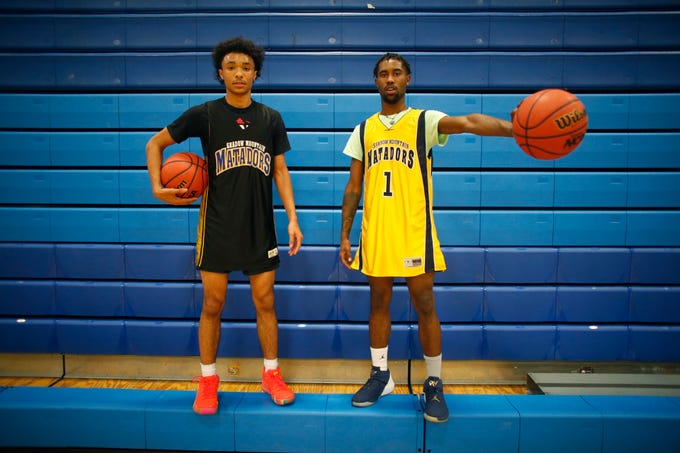 Shadow Mountain's Jaelen House (L) and Jovan Blacksher pose for a picture at Shadow Mountain in Phoenix, Ariz. on November 5, 2018.