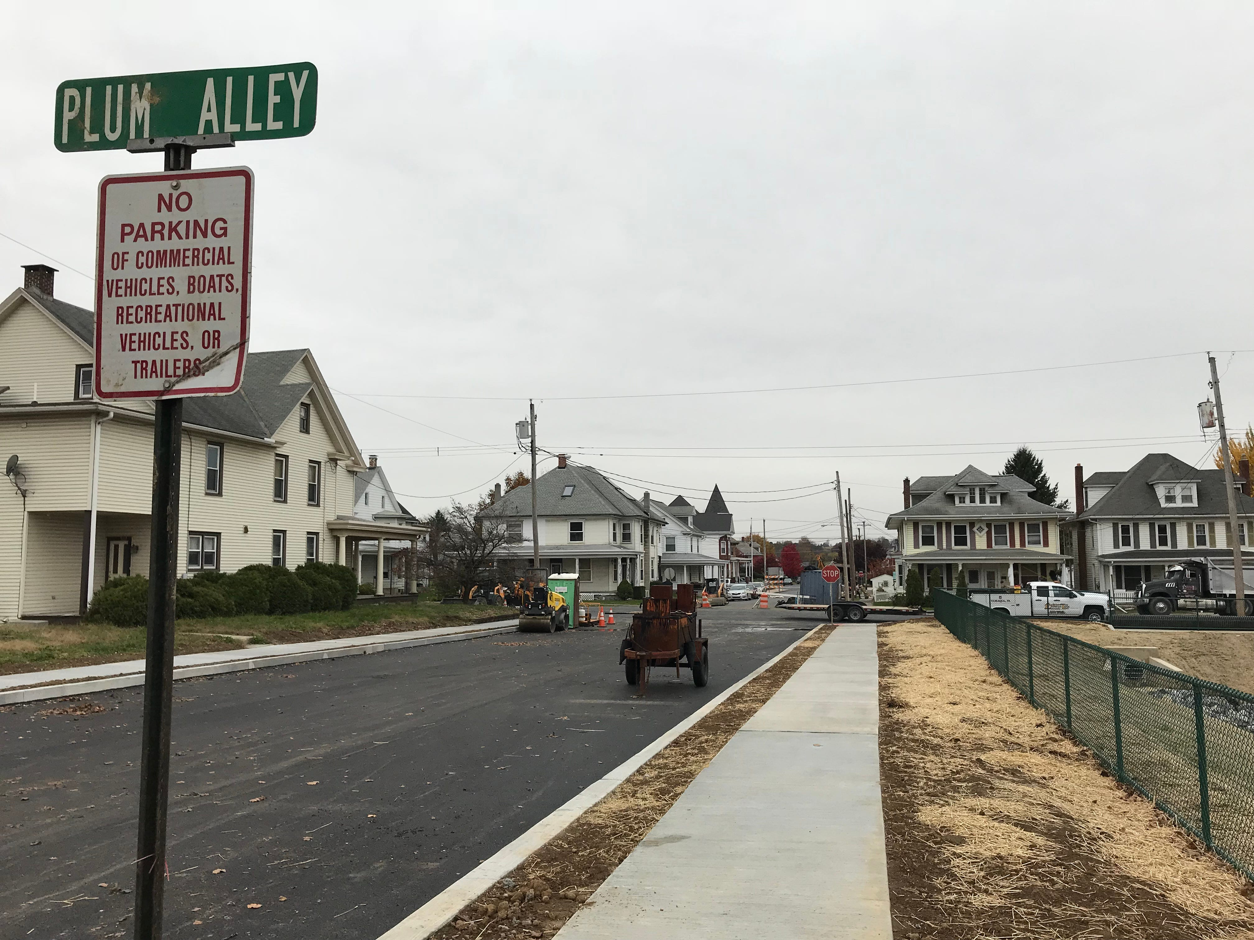 The Plum Alley side of the completed stormwater management system constructed in the 300 block of East Cherry Street, Palmyra, Nov. 9, 2018. Cherry Street was re-opened in the area after a four-year closure due to sinkhole damage.