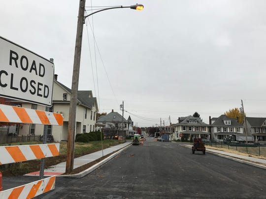 Grant Street was reopened in the area of the 300 block of East Cherry Street, Palmyra, Nov. 9, 2018. Cherry and Grant streets were re-opened in the area after a four-year closure due to sinkhole damage.