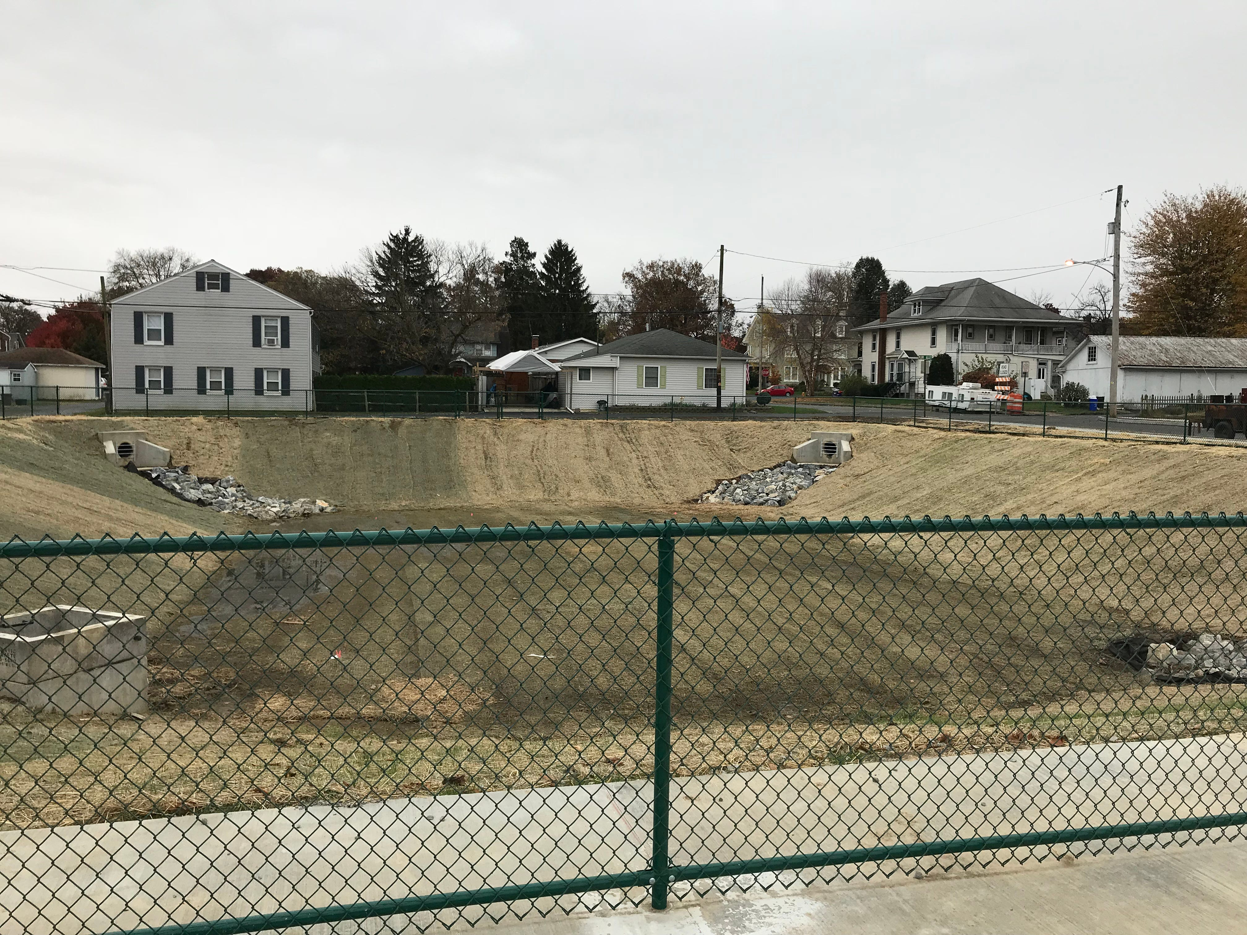The completed stormwater management system constructed in the 300 block of East Cherry Street, Palmyra, Nov. 9, 2018. Cherry Street was re-opened in the area after a four-year closure due to sinkhole damage.