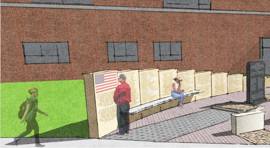 An early rendering of a veterans' memorial planned for Dover Area High School. Dover alumnus Frank Dittenhafer, of Murphy and Dittenhafer Architects, in York City, helped design the project.
