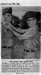 A clipping from the Patriot-News, printed June 2, 1968, showing Brad Jacobs (right) in the Pennsylvania Army National Guard Officer Candidate School.   Jacobs is leading a committee to bring a veterans' memorial to Dover Area High School.