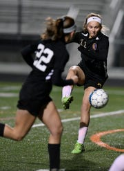 Delone Catholic's Riley Vingsen, gains control of the ball during the York-Adams League Girls' Soccer Senior All-Star Game, Thursday, November 7, 2018.  John A. Pavoncello photo
