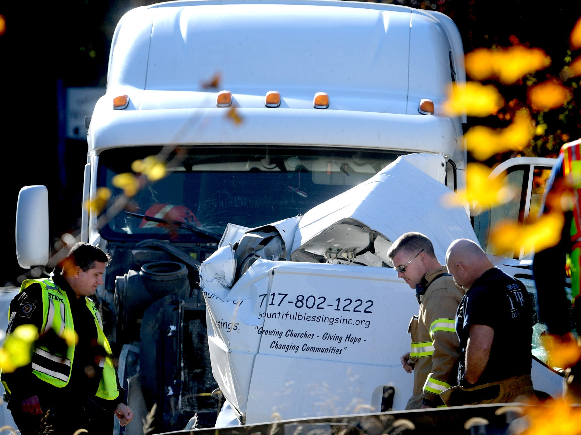 Emergency personnel confer at the scene of a fatal accident on northbound I-83 south of the Exit 34, Valley Green, Thursday, Nov. 8, 2018. Northbound lanes of the interstate were closed for several hours after the crash which occurred just before 9 a.m. Bill Kalina photo