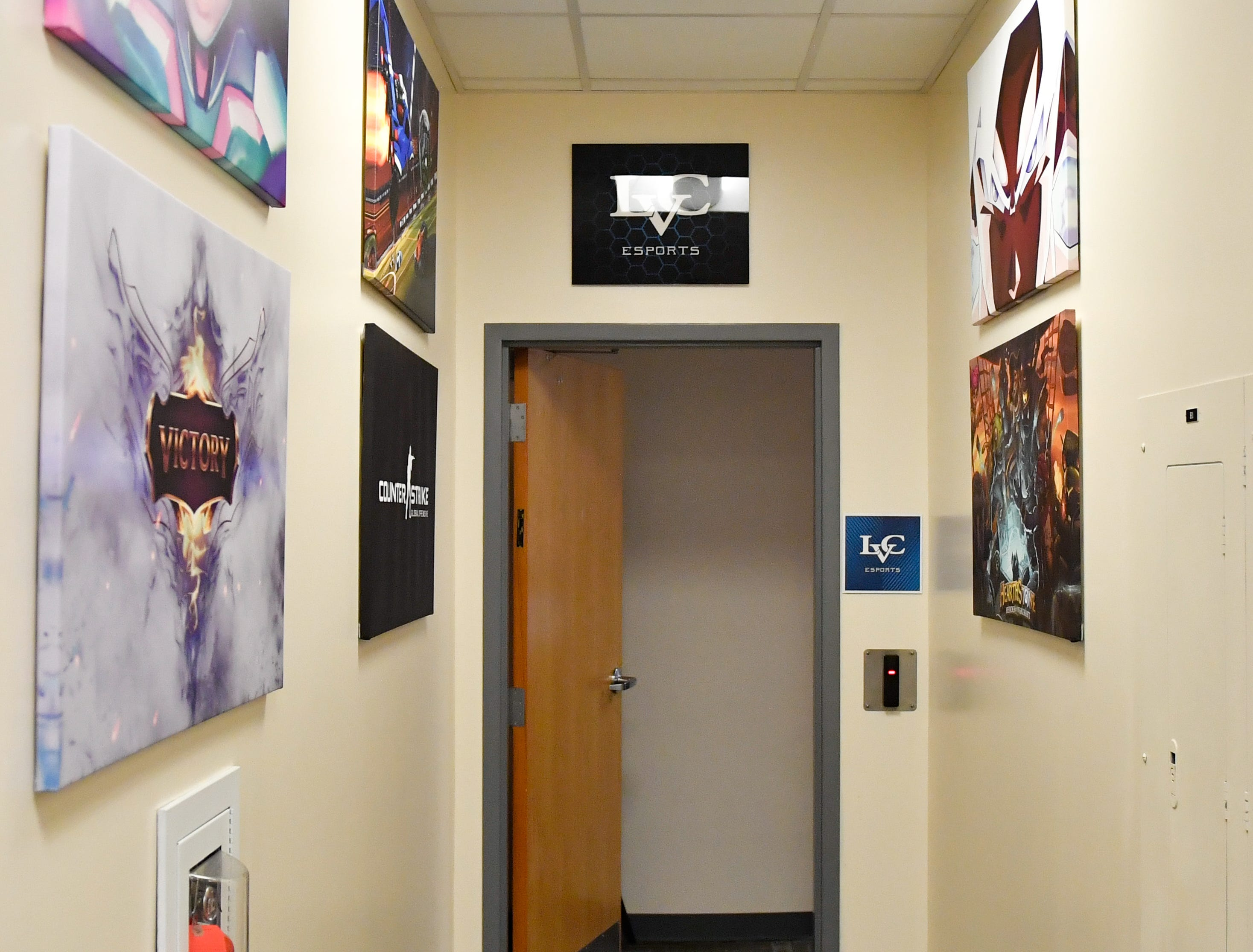 The lower level of Clyde A. Lynch Memorial Hall is the home of the LVC's varsity Esports team. The walls leading up to the door are decorated with canvases of video game covers and characters.
