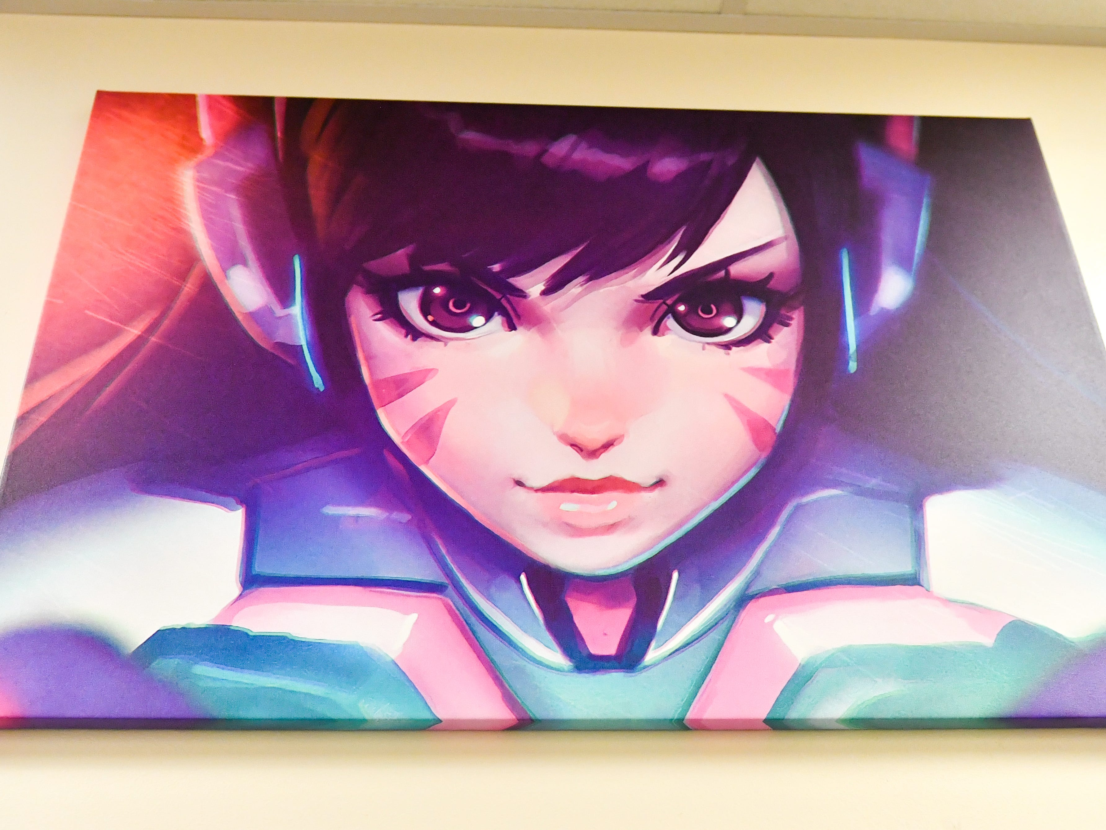 A canvas of an Overwatch character hangs on the wall outside of the gaming room, November 1, 2018.
