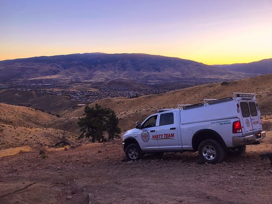 A sheriff's HASTY Team truck sits on Peavine Peak north of Reno on Thursday, Nov. 8, 2018. One person died in a rolled truck on the mountain.