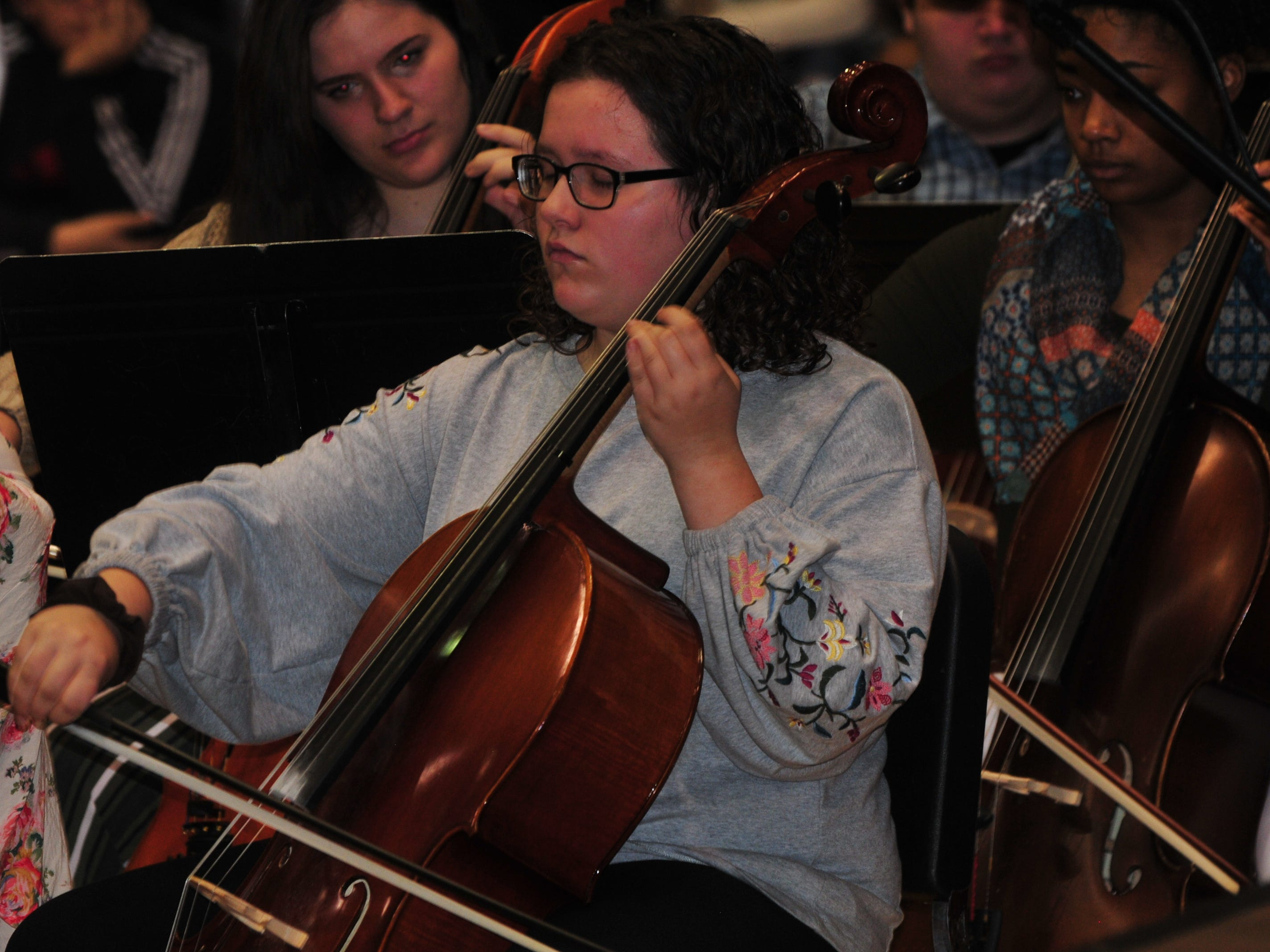 """Richmond High School's orchestra played """"American the Beautiful"""" during Friday's Veterans Day Program in Tiernan Center."""