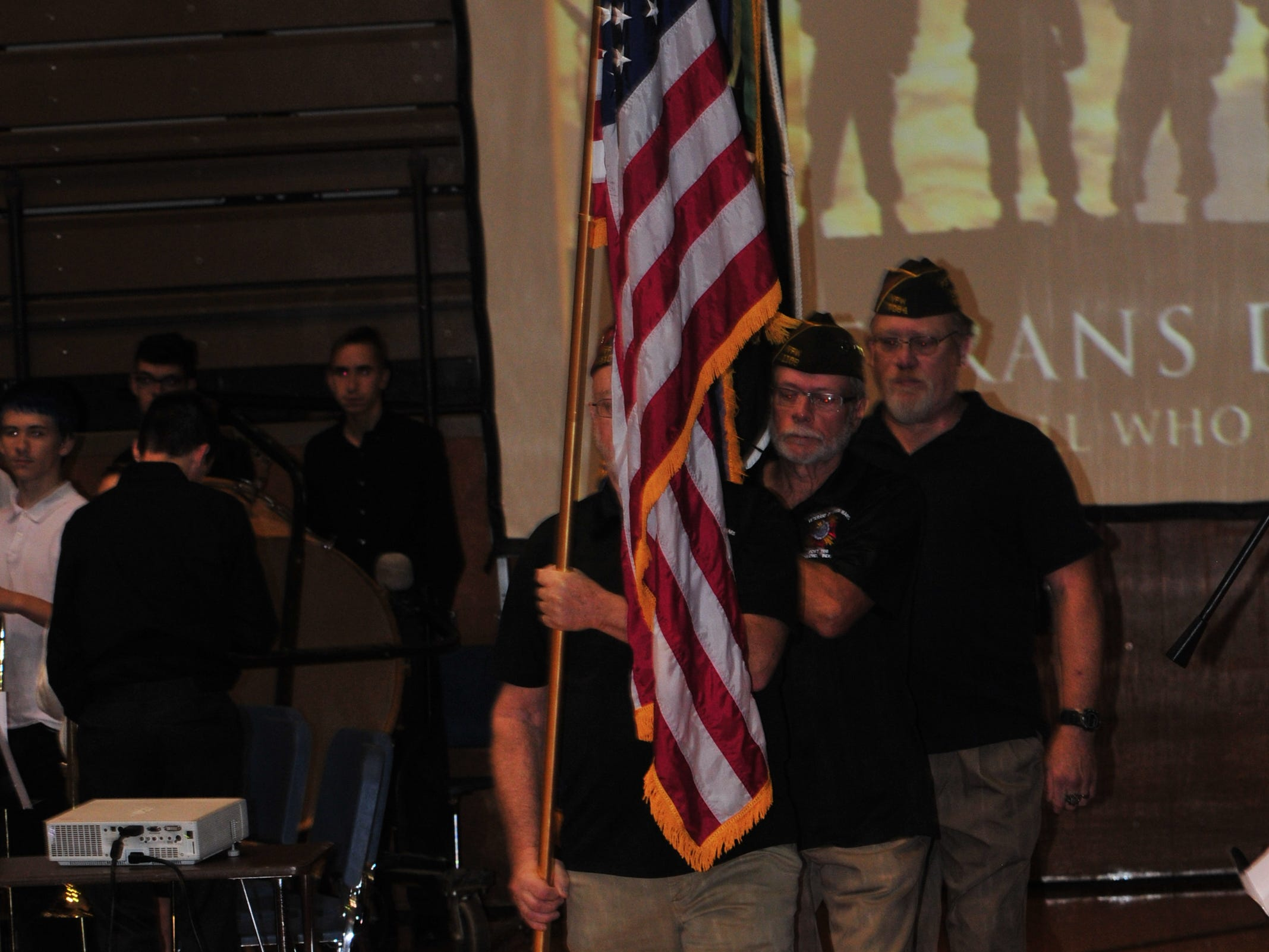 Veterans of Foreign Wars members present the colors Friday during the Veterans Day Program at Richmond High School.