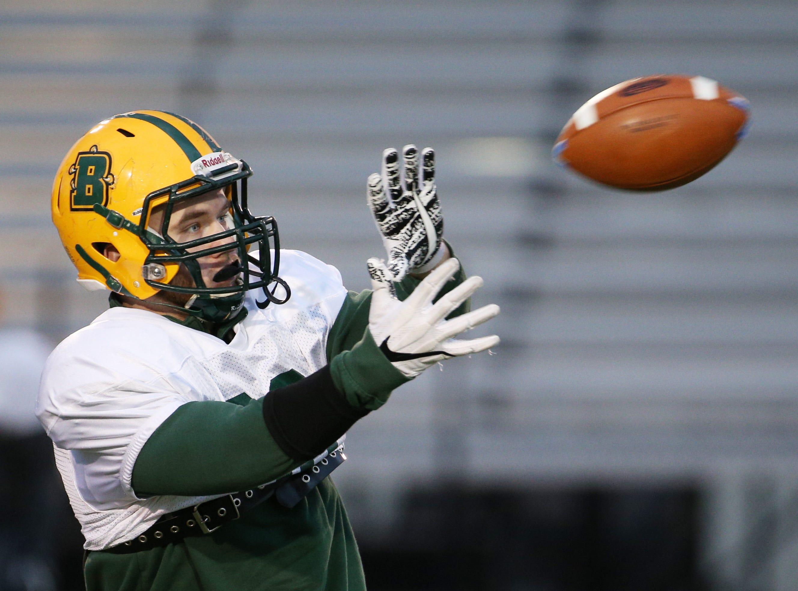 Freshman linebacker Ben Damiani (20) at Brockport football practice.