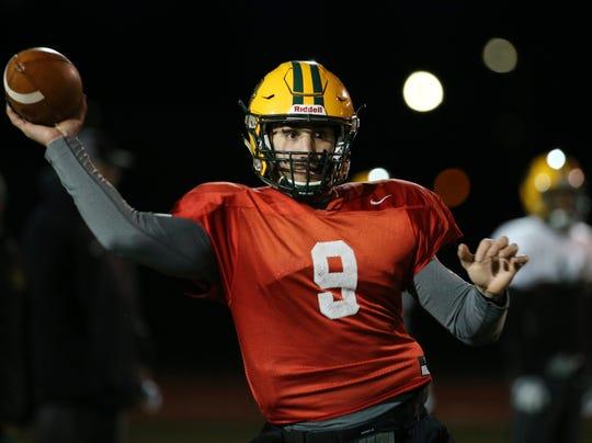 Joe Germinerio (9) at Brockport football practice.