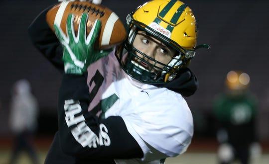 Junior receiver Joseph Ortiz  (24) of Rush-Henrietta at Brockport football practice.