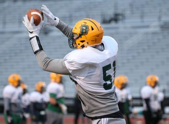 Freshman linebacker Derrick Cipriani at Brockport football practice.