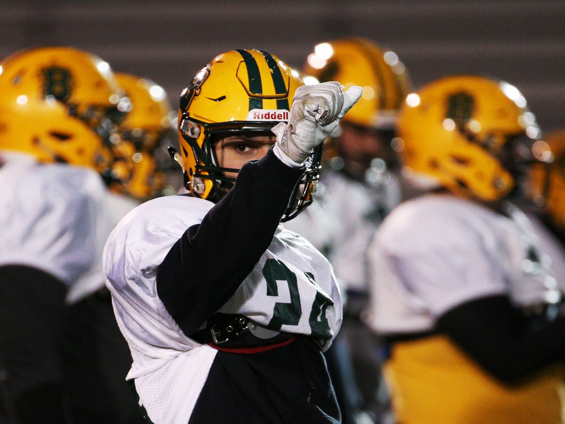 Joseph Ortiz (24) at Brockport football practice.