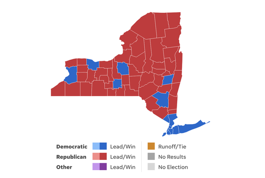 This map shows the counties won by Democratic Gov. Andrew Cuomo won (blue) and Republican challenger Marc Molinaro (red) in the 2018 New York gubernatorial election.
