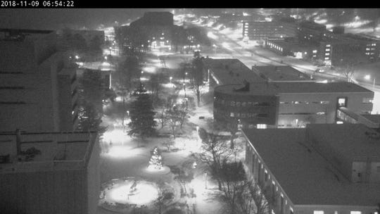 The campus of Michigan Technological University in Houghton via webcam Friday morning.