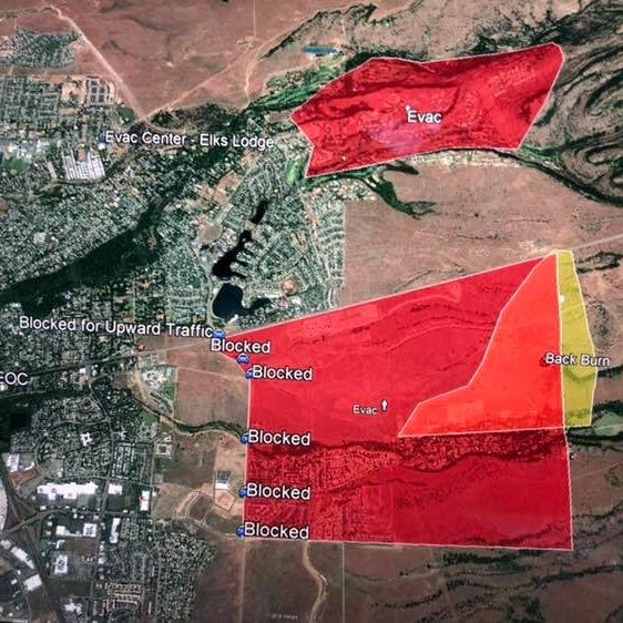 Map of evacuation zones in Chico as of early Friday morning.