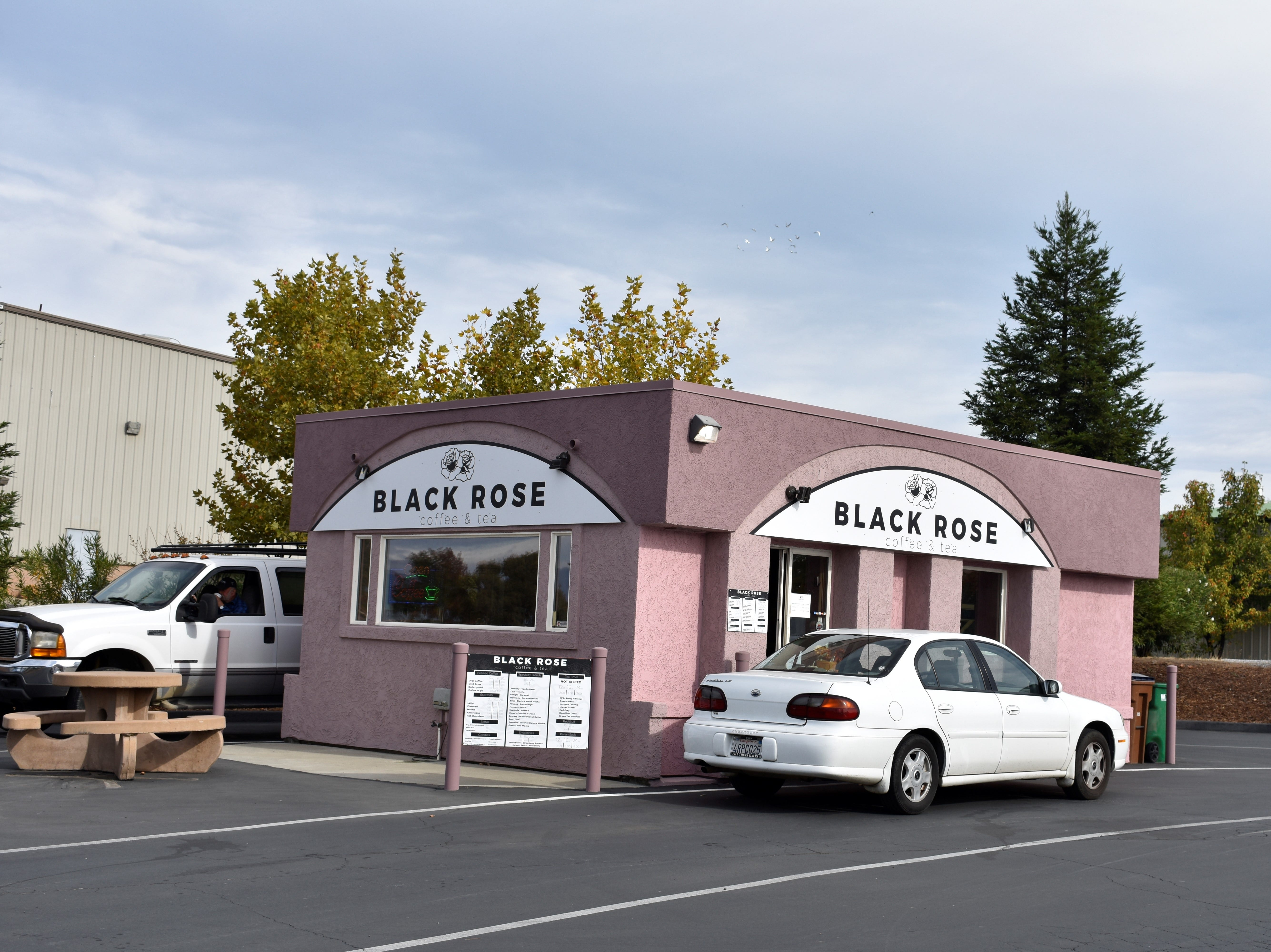 The Black Rose coffee kiosk on Old Oregon Trail in east Redding.