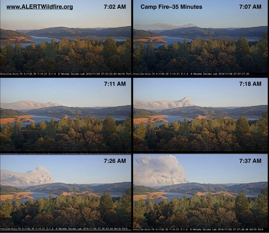 Explosion of the Camp Fire in 35 critical minutes as seen from Nevada Fire Cameras.