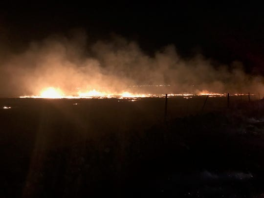 The Camp Fire burned in a field off East 20th Street in Chico on Thursday, Nov. 8, 2018.