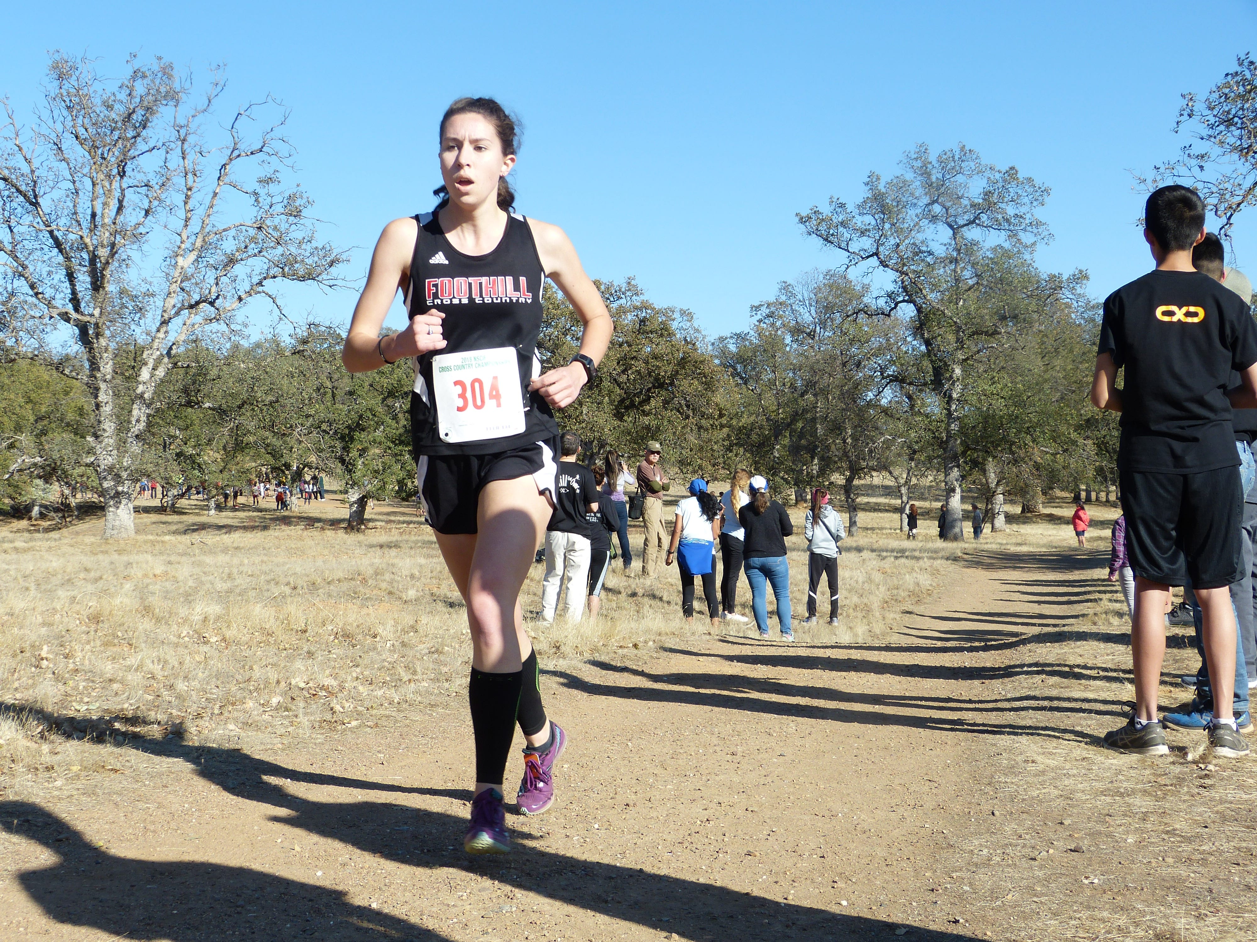 Foothill senior Payton Osborne runs during the Northern Section cross country championships at West Valley in November 2018.