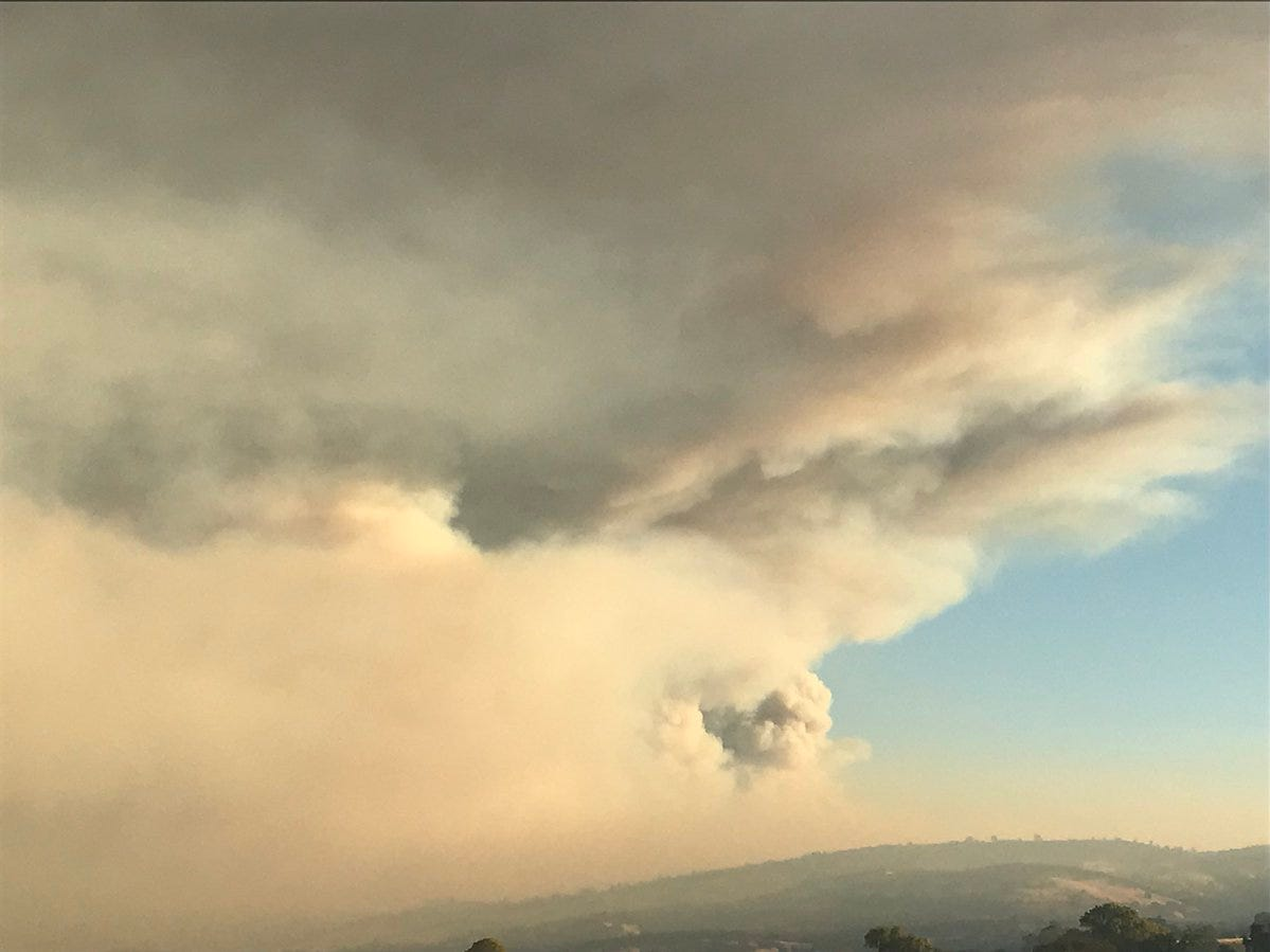 View from the North: The smoke plume from the Camp Fire Friday stretches over Butte County Friday morning, Nov. 9, 2018.