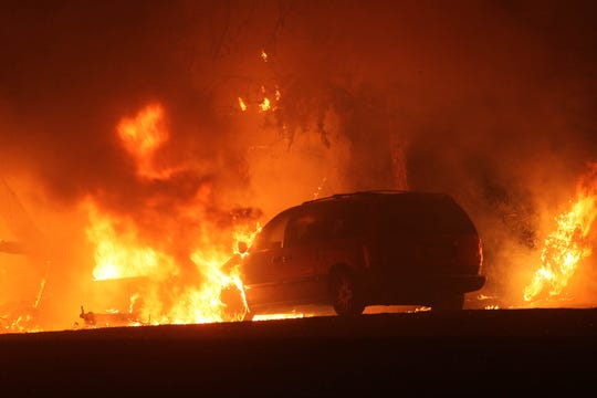 The Camp Fire burns late Thursday night, Nov. 8, 2018 east of Chico, California. (Hung T. Vu/Special to the Record Searchlight)