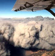 A pilot with the California Highway Patrol Valley Division Air Operations captured this aerial view of the Camp Fire on Thursday.