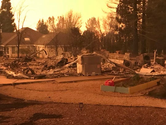 A house off Sunset Oaks still stands, but its out-buildings were destroyed in the Camp Fire on Nov. 8, 2018.
