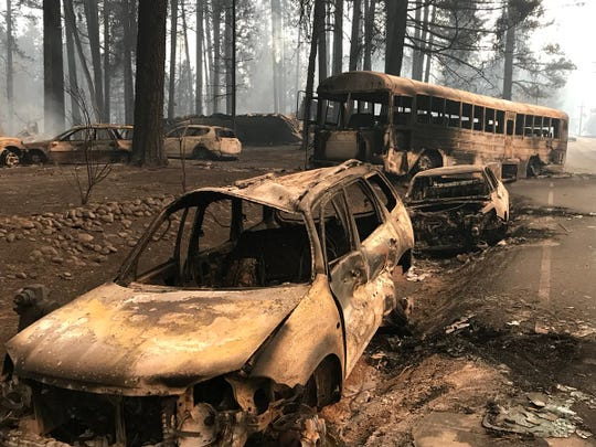These vehicles were left behind Thursday, Nov. 8, 2018 after the Camp Fire swept into Paradise, a testament to the panic and terror caused by the fire.