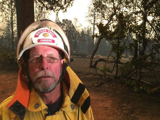 John Simon , former battalion chief of Paradise Fire Department, worked Friday as a volunteer searching for pets displaced by the Camp Fire. The fire, which started in Butte County on Thursday Nov. 8, 2018, swiftly devastated Paradise, California.