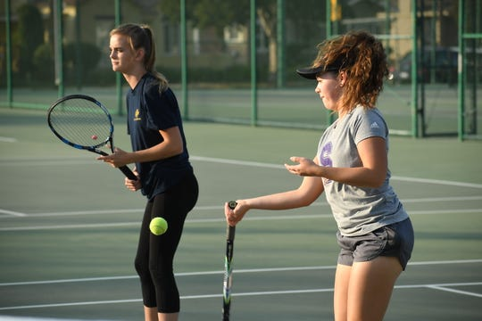 The doubles tandem of senior Camryn More (right) and sophomore Rylie Doolittle will represent Salinas in the doubles bracket of the CCS Girls Tennis playoffs.
