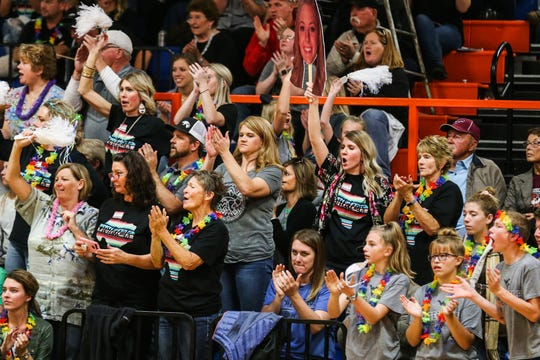 Water Valley fan cheer on their team during 1A regional semifinals against Klondike Friday, Nov. 9, 2018, at Central High School gym.