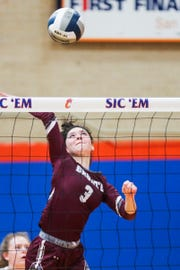 Bronte's Bryton Pearcy spikes the ball back to Marfa during 1A regional semifinals Friday, Nov. 9, 2018, at Central High School gym.