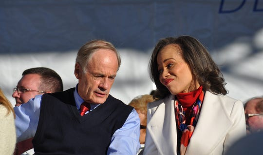 U.S. Sen. Tom Carper (left) and U.S. Rep. Lisa Blunt Rochester, both Democratic incumbents who retained their seats after the midterm election, sat next to each other during the festivities at Return Day in Georgetown on Nov. 8, 2018.