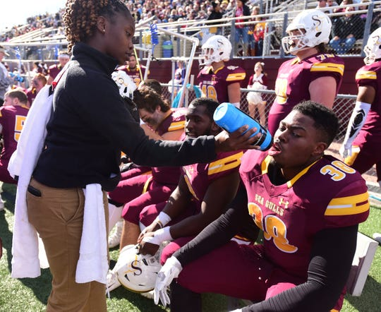 Salisbury University's Isaac Johnson plays against Wesley College Saturday, Nov. 3, 2018 at Seagull Stadium. (Photo by Todd Dudek for The Daily Times)