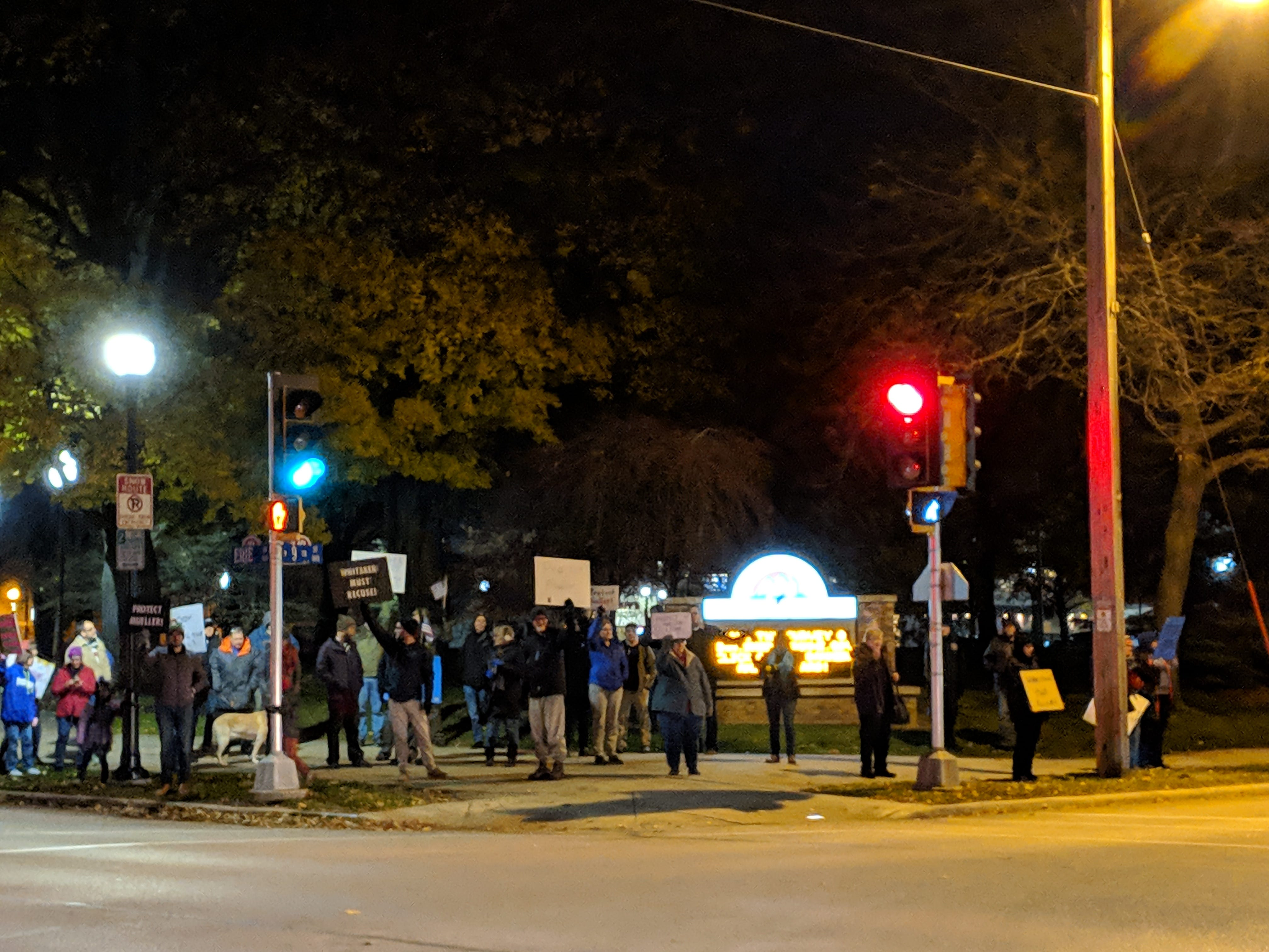 Protesters stand on the corner of Erie Avenue and North Ninth Street in Sheboygan on Thursday,  Nov. 8 to protest the replacement of Jeff Sessions with Matthew Whitaker. Around 40 people came out to the protest at its height.