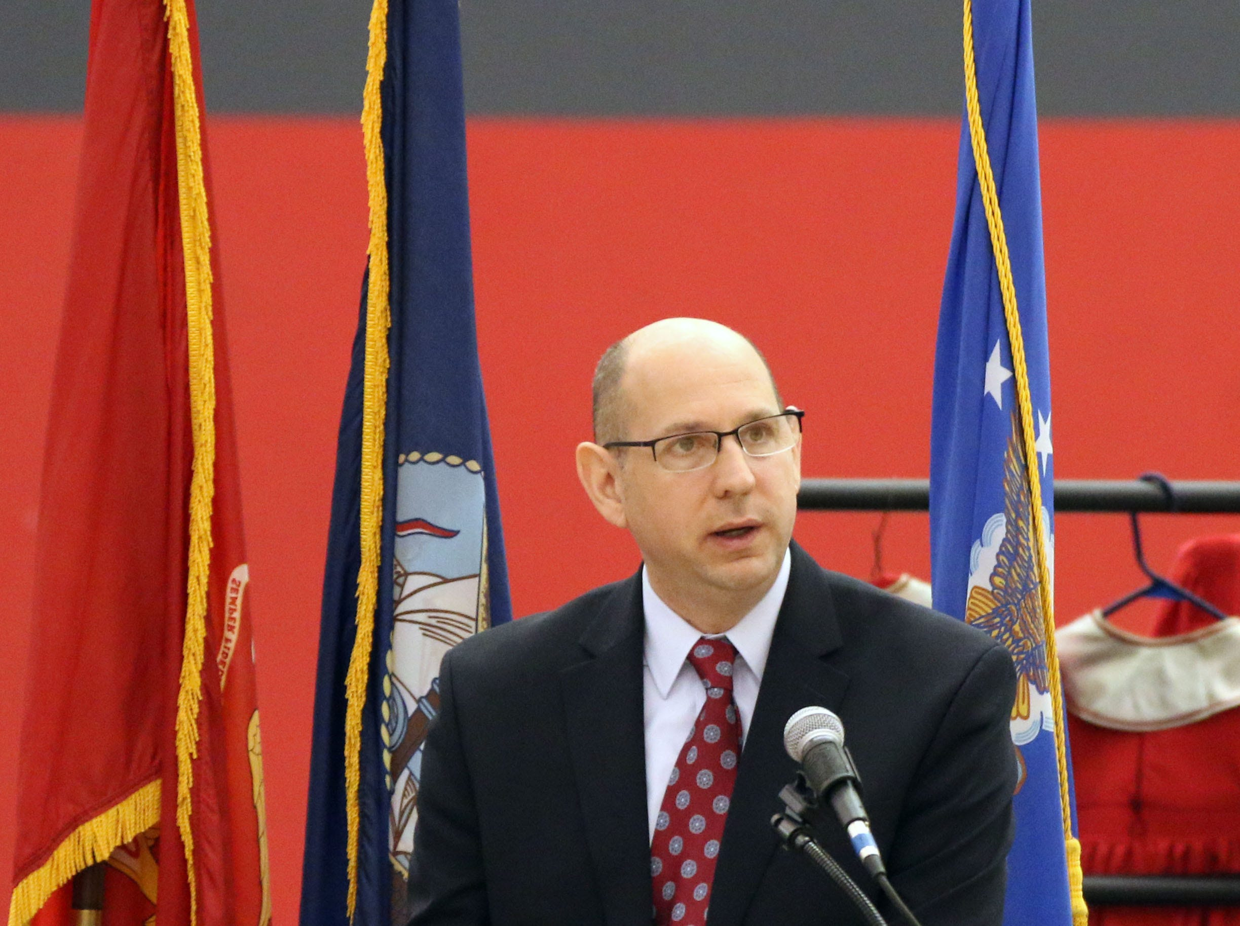 Sheboygan Area School District Superintendent of Schools Seth Harvatine speaks during the Veterans Day Program held at Sheboygan South High School Friday, November 9, 2018, in Sheboygan, Wis.