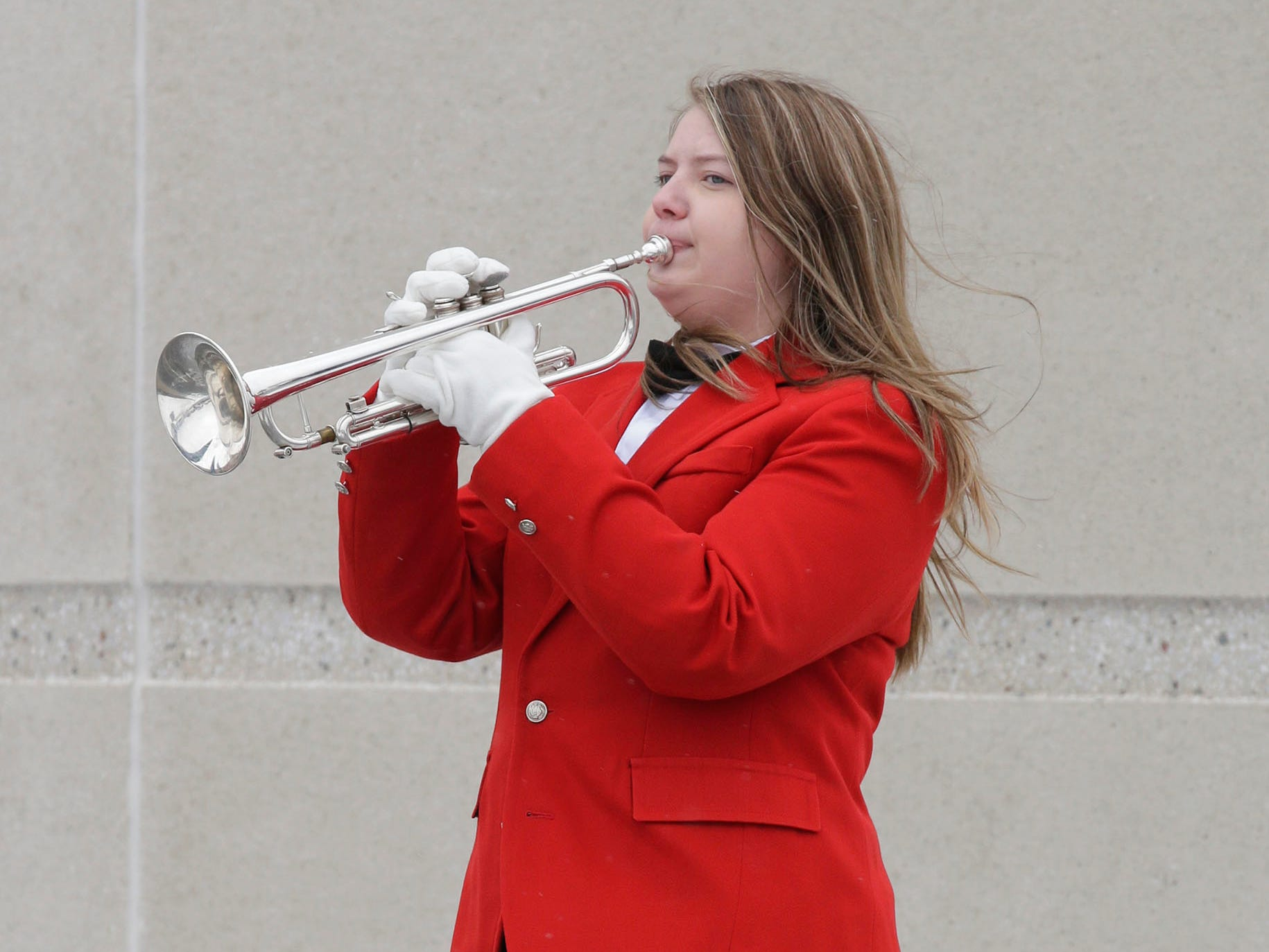 Aliya Hammer performs Taps at the end of the Sheboygan South Veterans Day program, Friday, November 9, 2018, in Sheboygan, Wis.
